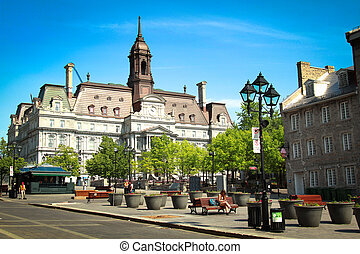 Jacques Cartier place in Montreal with the city hall in...