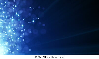 flying blue particles seamless loop background - flying blue...