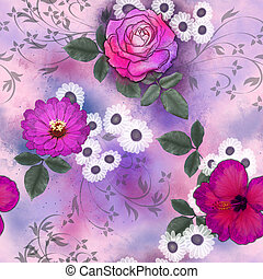 seamless pattern with pink flowers - seamless pattern with...