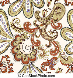 seamless paisley pattern in beige and burgundy tones on...