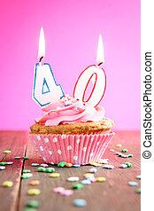 40, aniversário, Cupcake