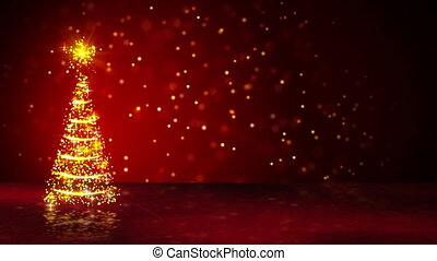 orange christmas tree of glowing particles loop - orange...
