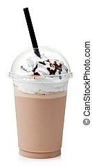 Chocolate milkshake covered with whipped cream in plastic...