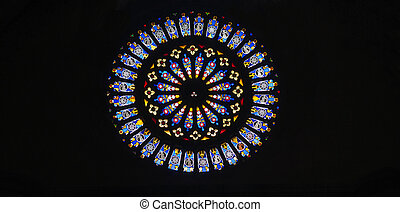 Rose window. - Rose window,religious theme leadlight window...
