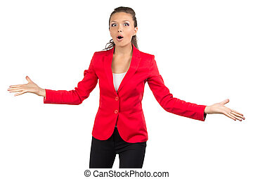 Happy businesswoman in red jacket
