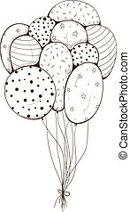 Bunch of air balloons - Sketch design element for holiday...