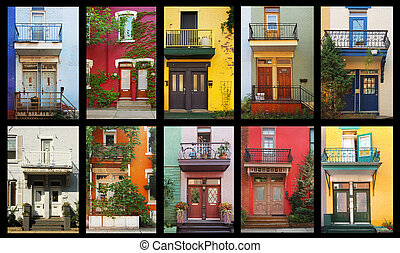 Colorful houses - Collage of a colorful houses in Montreal,...