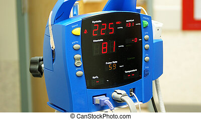 High Blood Pressure - A blood pressure monitor showing high...