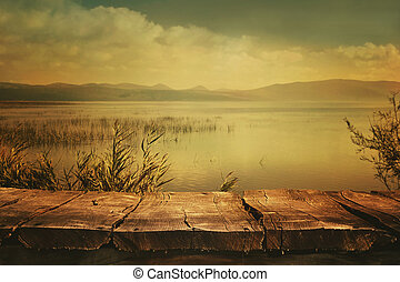Autumn background - Autumn nature background Table with Lake...