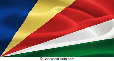 flag of the Seychelles waving in the wind. Silk texture...