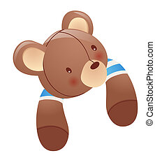 Toy bear brown colour on white background