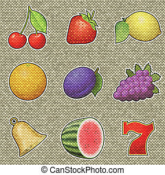 Slot machine fruits relief painting on generated knit...