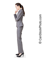 business woman thinking - Side view of Asian business woman...