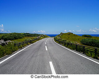 Seaside road in Yonaguni Island, western border island of...