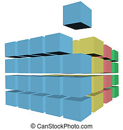 Puzzle rows of abstract cubes boxes cartons in colors - A...
