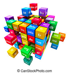 Internet and domain names concept - Creative abstract global...