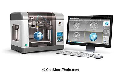3D, imprimindo, tecnologia