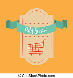 add to cart - a label with some stars, a shopping cart and a...