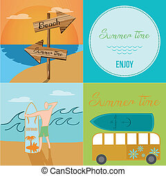 four different images with elements related to summer vacations