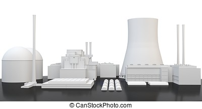 3d nuclear Power Plant on white background