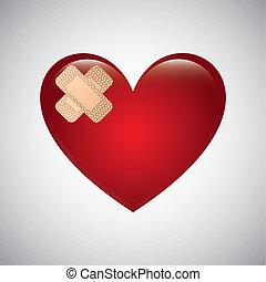 Heart shape on white background, Vector illustration