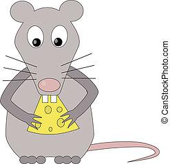 Rat eats cheeseIsolated Vector Illustration