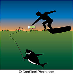 Shark and man - Human tries to take money, but shark tries...