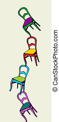 Juggling chairs in balance - Chain of juggling multicolored...