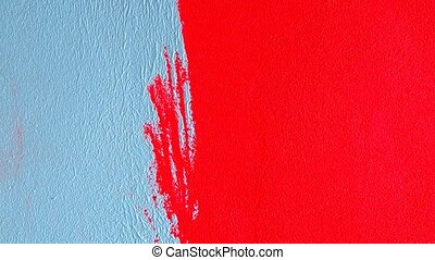 Painting walls with a roller - Repainted red with turquoise...