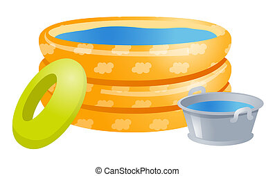 Play pools with water, aluminum bucket  and life buoy