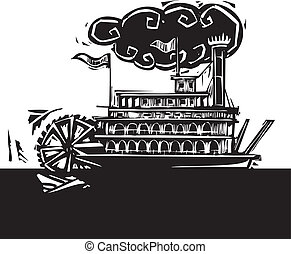 Stern wheel Riverboat in dark river - Woodcut style side...
