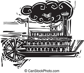 Woodcut Stern wheel Riverboat - Woodcut style side wheel...
