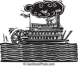 Stern wheel Riverboat in waves - Woodcut style side wheel...