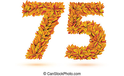 75 number of autumn fall bright orange leaves Vector word...
