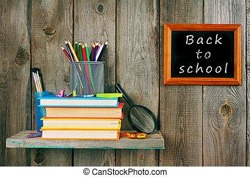 espalda, escuela, Libros, escuela, herramientas