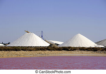 Site operating sea salt saline Aigues-Mortes in the season...