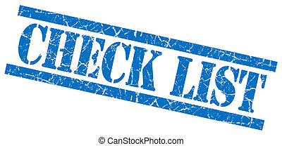 check list blue square grungy isolated rubber stamp