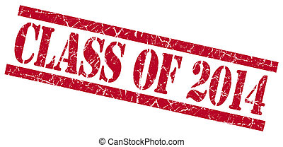 class of 2014 red square grungy isolated rubber stamp