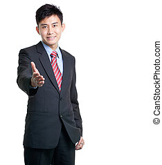 Asian Chinese businessman stretches out his arm for...