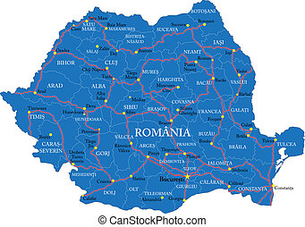 Romania map - Highly detailed vector map of Romania with...
