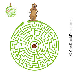 Vector Maze, Labyrinth with Marmot and Nut - Vector Maze,...