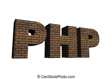 php - bricked letters PHP on white background - 3d...