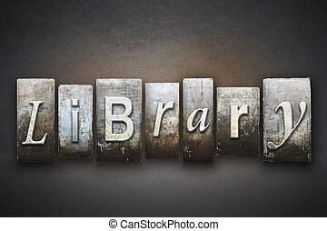 Library Letterpress - The word LIBRARY written in vintage...