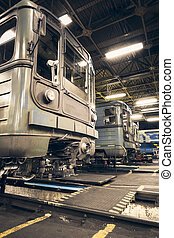 subway train - a metro car front view, a mechanic on a...