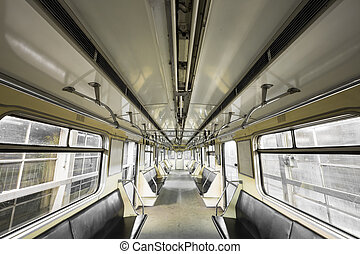 subway train interior - an old subway car interior passenger...