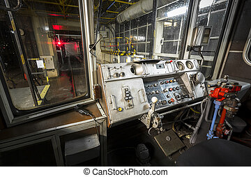 subway train, drive cabin - an old subway car interior drive...