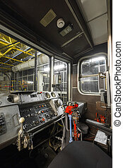 subway train drive cabin - an old subway car interior drive...