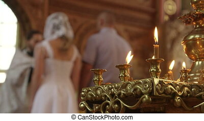 Wedding Ceremony in Russian Christian Orthodox Church Priest...