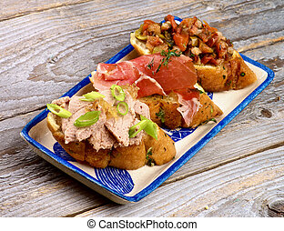 Tapas Bruschetta - Arrangement of Tapas Bruschetta with Pate...