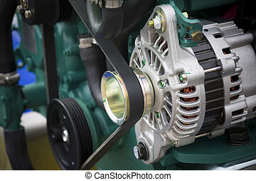 engine generator - a new boat motor generator, close, detail